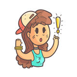 Girl In Cap, Choker And Blue Top Saying Something Important Hand Drawn Emoji Cool Outlined Portrait. Part Of Funky Flat Vector Sticker Series With Teenager Royalty Free Stock Image