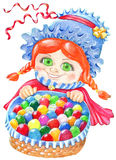 Girl in cap with decorated eggs in basket Stock Photos