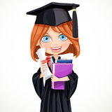 Girl in cap holding a scroll diploma Royalty Free Stock Images
