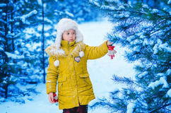 The girl in a cap and a jacket in the winter in the wood Royalty Free Stock Images
