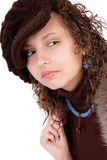 The girl in a cap on a white background Royalty Free Stock Images