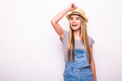 Girl in cap on white. Summer holiday mood Stock Images