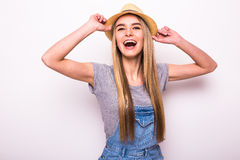 Girl in cap on white. Summer holiday mood Royalty Free Stock Image