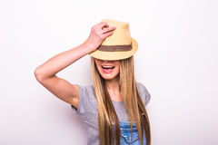 Girl in cap on white. Summer holiday mood Stock Photo