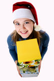 Girl in a cap with a yellow box Royalty Free Stock Photography