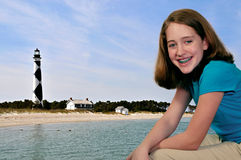 Girl at Cape Lookout Lighthouse Royalty Free Stock Image