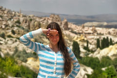 Girl in Cappadocia Royalty Free Stock Images