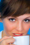 Girl with Cappuccino Royalty Free Stock Image