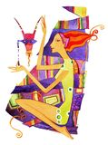 Girl Capricorn. Barefoot girl sitting on her haunches with a mask of Capricorn. Barefoot girl sitting on her haunches with a mask of Capricorn on the ornamental vector illustration
