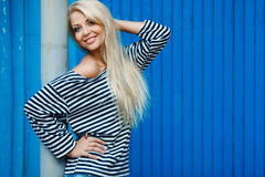 Girl - Captain's in sexy sailor T-shirt. Stock Photos