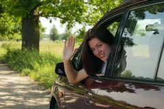Girl  in car Royalty Free Stock Photo