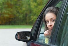 Girl  in car Stock Image