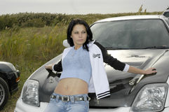 Girl with car. Car racing, Astrakhan, Russia Royalty Free Stock Image