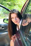 Girl  in car Stock Photos
