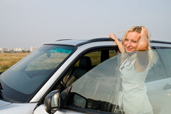 Girl and car Stock Photos