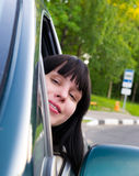 Girl in Car Royalty Free Stock Image
