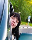 Girl in Car. Happy pretty Girl in Car Royalty Free Stock Image