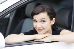 Girl in a car Royalty Free Stock Photos