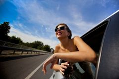 Girl in the car Stock Images
