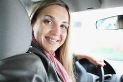 Girl in a car Royalty Free Stock Image