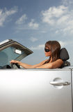 Girl and Car. Woman and her cabriolet car at Fuerteventura's beach Stock Image