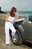 Girl and Car. Woman and her 4wd car at Fuerteventura's beach Royalty Free Stock Image
