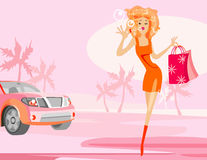 Girl and car stock illustration
