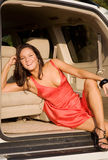 Girl in car Royalty Free Stock Images