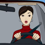 Girl in the car. The girl is afraid to drive a car Royalty Free Stock Photography