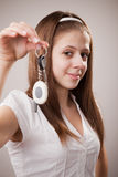 Girl with car keys Stock Photography