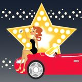 Girl and car. Girl and a new car vector illustration royalty free illustration
