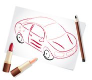 Girl car painted with make-up stuff Royalty Free Stock Photos