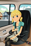 Girl in car seat Royalty Free Stock Photo