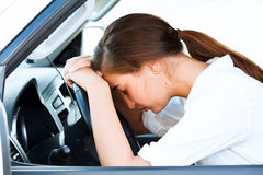 Girl in a car Royalty Free Stock Photo