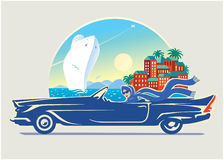 Girl in car. Vector illustration. The girl travels along the coast of the sea.Here I have tried to convey the style of a retro Stock Photos