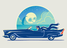 Girl in car. Vector illustration. The girl travels along the coast of the sea.Here I have tried to convey the style of a retro Royalty Free Stock Image