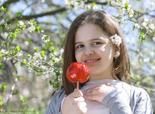 Girl with caramel apple. Beautiful  girl with caramel apple Royalty Free Stock Photography