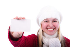 Girl with a card. Young girl holds in a hand an empty card on a white background Stock Photography