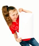 Girl with card Royalty Free Stock Photos