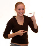 Girl with card. At white background Stock Photos
