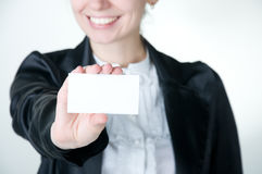 Girl with card Stock Images