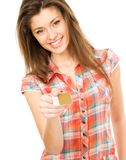 Girl with card Stock Image