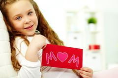 Girl with card Royalty Free Stock Photo