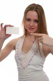 Girl with card. Girl with note card on white background Royalty Free Stock Photo