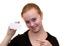 Girl with card Royalty Free Stock Image