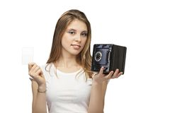 Girl with card. Beautiful girl with card and safe box on a white background Stock Photos