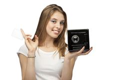Girl with card and moneybox. On white background beautiful girl with a paper and safe box Stock Photography