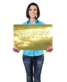 Girl with a card Stock Photos