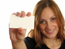Girl with card for text Royalty Free Stock Photos