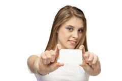 Girl with card. On a white background Stock Photos